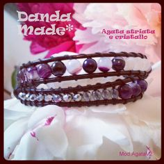 www.facebook.com/dandamade bracciale 2 giri Agata viola striata e cristalli * double wrap bracelet with purple striped agate & crystals