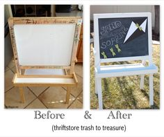 I'm back with part two of my thrift store upcycle project. Last week I shared the sad-sad little art easel that I bought at the thrift store, and this week I'm here to s… Thrift Shop Finds, Thrift Store Crafts, Crafts To Sell, Thrift Stores, Diy Crafts, Makeover Before And After, Happy Birthday Messages, Crafts For Girls, Clothes Crafts