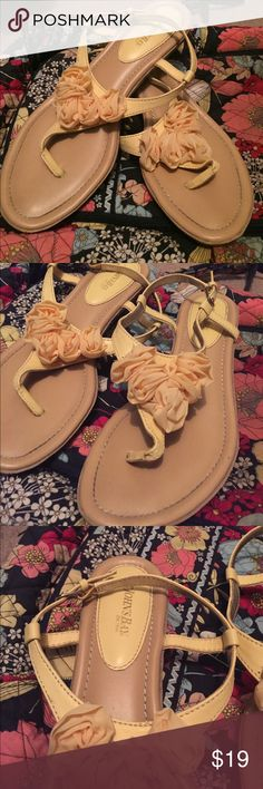 St. John's Bay Yellow Summer or Spring Sandals These Sandals are in great condition to be worn with spring dresses or a cute maxi dressing. They can be worn to dress something up or down! Make an offer! St. John's Bay Shoes Sandals