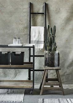 Industrial Iron Trolley with three shelves and two reclaimed wood trays on large castors with a stunning rustic finish. Industrial Furniture, Vintage Furniture, Sweet Home, Ale, House Doctor, Ladder Decor, Home Accessories, Scandinavian, Dining Chairs