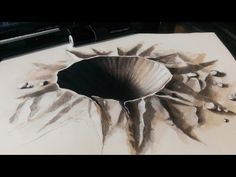 Drawing a 3D Crater - 3D Hole - YouTube