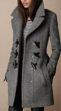 Grey Horn Button Pockets Coat