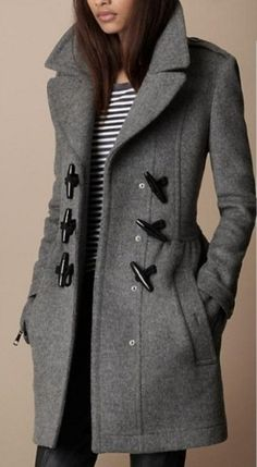 Grey Tweed Coat with Horn Button