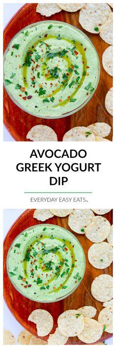 Avocado Greek Yogurt Dip - This creamy, healthy dip is perfect for entertaining… (Vegan Dip Yogurt) Dip Recipes, Appetizer Recipes, Salad Recipes, Cooking Recipes, Yummy Appetizers, Snack Recipes, Greek Yogurt Dips, Greek Yogurt Recipes, Easy Eat
