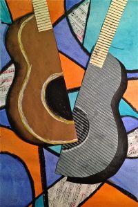 Cubism: Picasso mixed media Guitar art for Kunst Picasso, Picasso Art, Pablo Picasso, Cubist Art, Abstract Art, Atelier D Art, 5th Grade Art, Guitar Art, Music Guitar