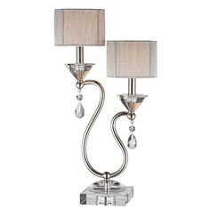 Filament Design Sonoma 24 in. Chrome Metal with Clear Crystal Incandescent Table Lamp-7836758.0 at The Home Depot
