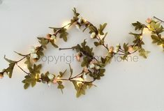 NEW LOWER PRICE! String light Pink and cream rose leaf garland Led fairy lights vintage woodland wedding decoration enchanted forest