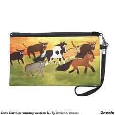 Cute Cartoon running western horses Wristlet Clutch