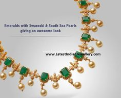 Emeralds and Swarovski Necklace - Latest Indian Jewellery Designs Jewelry Design Earrings, Gold Jewellery Design, Cartier Jewelry, Necklace Designs, Gold Bridal Earrings, Bridal Jewelry, Gold Jewelry Simple, Simple Necklace, Indian Jewelry Sets