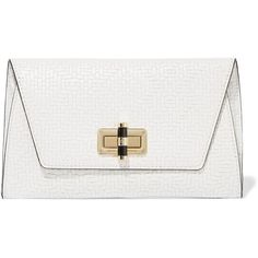 Diane von Furstenberg Gallery Uptown woven leather clutch (905 BRL) via Polyvore featuring bags, handbags, clutches, white, white purse, canvas handbags, white handbags, diane von furstenberg handbags e woven leather purse