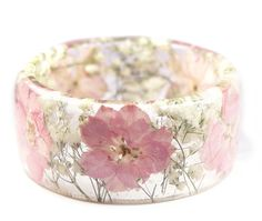 Soft Pink Flower Resin Bracelet