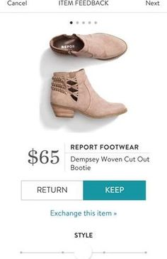 REPORT FOOTWEAR Dempsey Woven Cut Out Bootie from Stitch Fix. https://www.stitchfix.com/referral/4292370