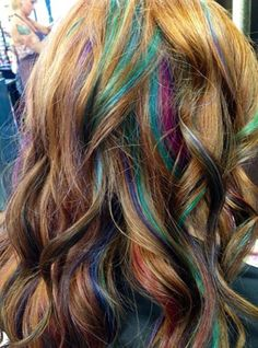 Mermaid hair, pink turquoise and purple highlights, unique hair, pretty, different, cool hair, redhead, red hair