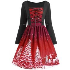Christmas Tree Print Plus Size Lace Up Dress (72 RON) ❤ liked on Polyvore featuring dresses, print dress, plus size lace up dress, plus size dresses, plus size red dress and red pattern dress