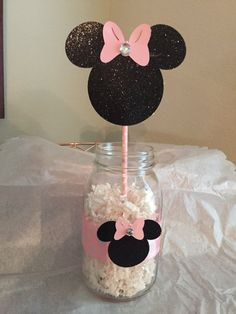Pink and gold Minnie age center piece without mason jars(separate listing) Mickey Mouse Crafts, Minnie Mouse Birthday Decorations, Minnie Mouse 1st Birthday, Minnie Mouse Baby Shower, Minnie Mouse Bow, Winter Onederland Party Girl 1st Birthdays, First Birthday Party Themes, 1st Birthday Girls, Instalation Art
