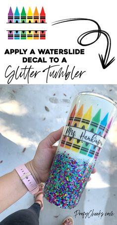 Waterslide Paper for Glitter Tumblers - How to Apply Waterslide Decals - Vinyl Tumblers, Custom Tumblers, Glitter Cups, Glitter Tumblers, How To Make Glitter, Diy Epoxy, Tumbler Designs, Cup Design, Resin Crafts