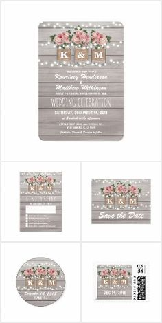Burlap Mason Jar Invitation Suite Stylish rustic wedding invitations with a light gray rustic wood background, string twinkle lights, three pink rose mason jars with burlap wrapped around them, you and your partners initials printed on the jam jars and trendy white wording.