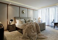Grey and taupe bedroom ideas taupe bed floor and a faux fur blanket for a cozy modern bedroom look Taupe Bedroom, Taupe Bedding, Cozy Bedroom, Dream Bedroom, Modern Bedroom, Master Bedroom, Bedroom Decor, Bedroom Ideas, Taupe Walls