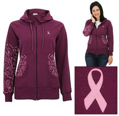 Pink Ribbon Paisley Tailored Sweatshirt - comfy casual for a cause - The Breast Cancer Site