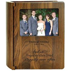 """Personalized Wedding Photo Album """"And so Together They Lived Happily Ever After """" for Bride and Groom or Anniversary Couple Holds 200 4x6 Photo Made of Walnut Dayspring http://www.amazon.com/dp/B00KX2AFQ4/ref=cm_sw_r_pi_dp_1zefvb14N15SD"""
