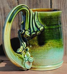 Food safe Stoneware wheel thrown mug. $22.00, via Etsy.