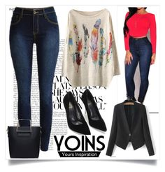 """JEANS  Yoins"" by mamiigou ❤ liked on Polyvore featuring WithChic and yoins"