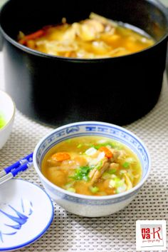 Chinese Chicken Herbal Soup The well balanced flavors of the soup with herbs and tender chicken pieces worked in harmony to deliver a nourishing and delicious soup.