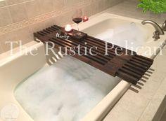 Reclaimed Wood Tub Caddy Rustic Bathtub Tray Barn by RusticPelican