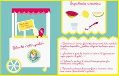 Illustrated recipe of homemade watermelon ice-cream ¡Yummy!  Receta ilustrada de polos caseros de sandía y melón ¡Mmmm!  http://reinobajito.com/magazine/nos-refrescamos-con-unos-ricos-helados-caseros-de-fruta/