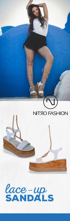 #handmade #leather #flatforms #madeingreece #nitrofashion Lace Up Sandals, Handmade Leather, Espadrilles, Kitten Heels, Summer, How To Make, Shoes, Fashion, Espadrilles Outfit