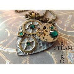 The Clockheart Steampunk Emerald Necklace