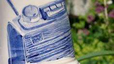 Chunky mug, made to order with a hand painted and decorated radio on it.