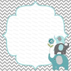 yellow and gray elephant baby shower invitation- digital file- diy, Baby shower invitations