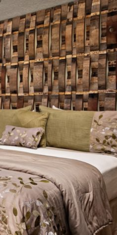 Jura Suite headboard made from recycled barrels at Youngberg Hill, McMinnville OR Oregon's Wine Country