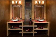 Ami il #design #etnico? Richiama queste atmosfere anche nella stanza da bagno con candele, legno grezzo, tappeti e specchi con cornici importanti #wood #bathroom #cool