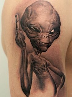 Paul The Alien Tattoo Weird Tattoos, Cool Tattoos For Guys, Cute Tattoos, Body Art Tattoos, Small Tattoos, Sleeve Tattoos, Tatoos, Alien Tattoo, Paul The Alien