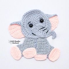 Ravelry: Elephant Applique pattern by Little Bamboo Handmade Crochet Elephant Pattern, Crochet Applique Patterns Free, Elephant Applique, Crochet Appliques, Free Pattern, Elephant Blanket, Crochet Panda, Crochet Animals, Crochet Toys