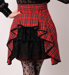 SteamPunk Red Black Custom Victorian  Bustle Mini Skirt.... I'm thinking Christmas.