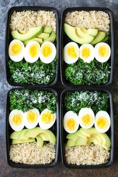Avocado and Egg Breakfast Meal Prep - Jump start your mornings with the healthiest, filling breakfast ever! Loaded with brown rice, avocado, eggs and kale. healthy food Avocado and Egg Breakfast Meal Prep Paleo Meal Prep, Lunch Meal Prep, Paleo Diet, Slow Cooker Meal Prep, Veggie Meal Prep, Keto Meal, Ketogenic Diet, Eggs And Kale, Avacado And Eggs