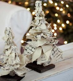 rag ribbon tabletop christmas trees