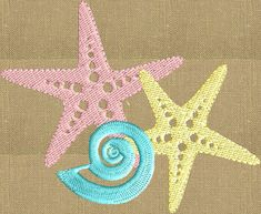 StarfishFish w Shell EMBROIDERY DESIGN FILE  Instant download