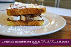 Skinny Chocolate-Hazelnut Spread and Banana French Toast Sandwich #breakfastideas