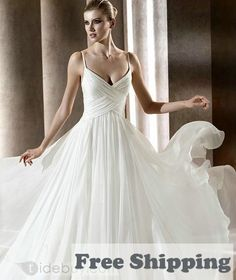 76f27f951b Free Shipping Amazing Empire Spaghetti Straps Sweetheart Chiffon Wedding  Dresses - Empire Waist Wedding Dresses -