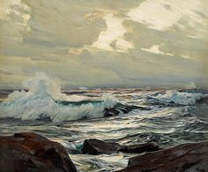 """Frederick Judd Waugh (1861-1940) ~ """"Breaking Waves"""" ~ Oil on Canvas (63.5 x 76.2cm) ~ Collection privée, Caroline du Nord"""