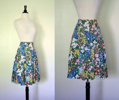 Vintage 70s Skirt / Wildflower A Line Skirt / 1970s Pintuck Pleated Skirt by mousevoxvintage, $22.00