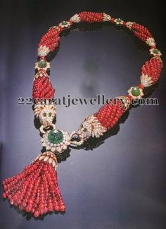 Jewellery Designs: Ruby Beads Tassels Necklace