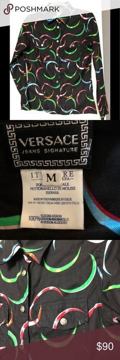 """Versace designer abstract black shirt Chest 18"""" and 26"""" length on this Versace designer shirt. Detailed buttons and in great condition medium Versace Shirts Dress Shirts"""