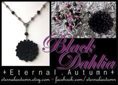 B l a c k D a h l i a handmade necklace featuring imported black dahlia flower pendant - by EternalAutumn, $38.00