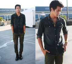 Pacsun Charcoal Denim Shirt, Kasil Workshop Green Tapered Pants, Guidomaggi Leather Boots