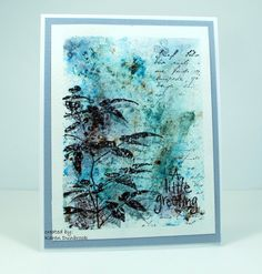 hand crafted card from Snippets: Nature's Best ... collage stamping ... earth and water ... black and blues ... luv the impressionistic look ...